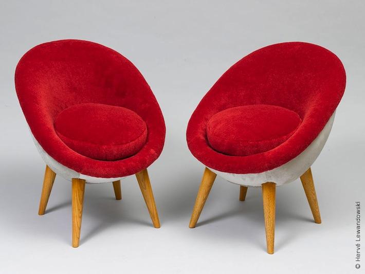 fauteuils oeuf par jean royere 1953 the good old dayz. Black Bedroom Furniture Sets. Home Design Ideas