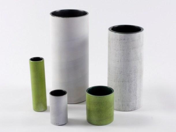 jouve georges vases rouleaux blancs et verts cylindres photo 1