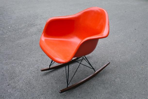 rocking chair rar eames herman miller orange 1